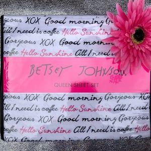 Betsey Johnson Good Mornings Queen Sheet Set